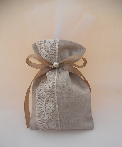 Linen/lace wedding favor