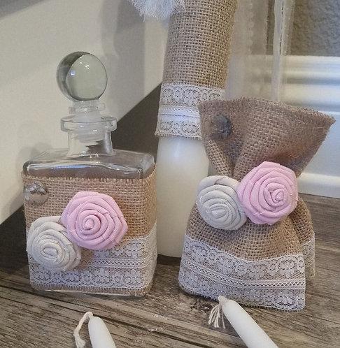 Rustic/Flowers Oil bottle/soap set