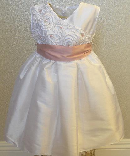 Classy White Silk baptism dress