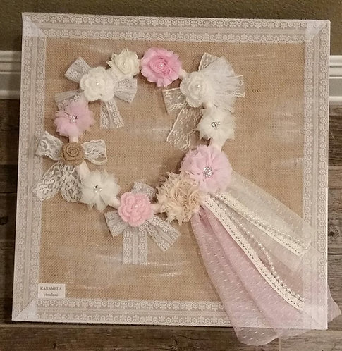 Vintage style flower wreath Baptism box