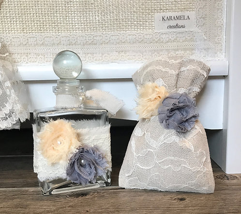 Shabby chic oil bottle/soap set