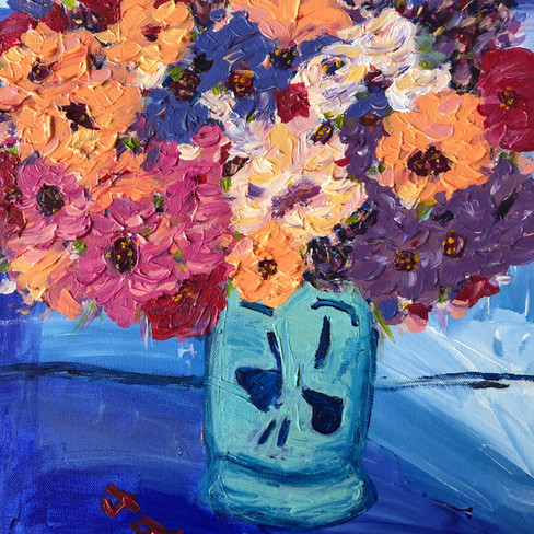 """""""Untitled Flowers with Blue Background"""" SOLD"""