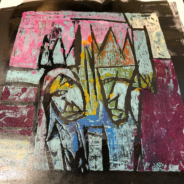 People from Italy  Mono Print 3/3 . SOLD