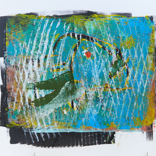 """""""Fish"""" 3/3 Mono Print SOLD Available in Print"""