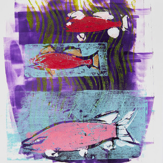 Bottle Lake Fish 3-3  Mono Print SOLD Available in Print