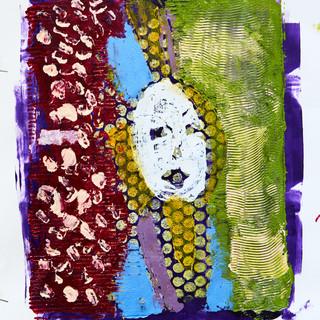 """Girl in Hat"" Mono Print Framed"