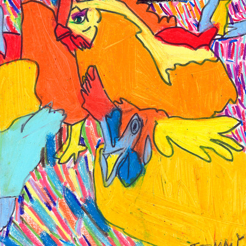 Roosters in the Garden - SOLD Available in Print