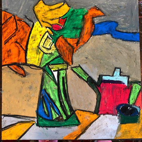 Untitled Pastel with Teapot