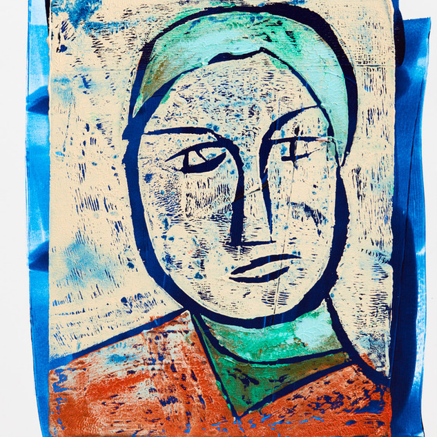 """"""" Man with Hat"""" 1/3 Mono Print Framed"""