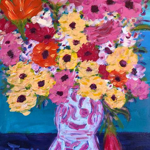 """Flowers in Pink Vase"" SOLD"