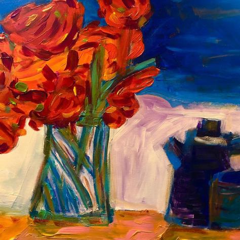 """Flowers with Tea Pot"""
