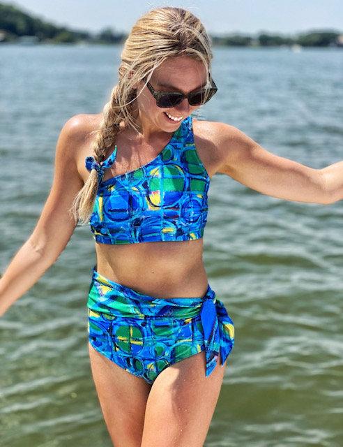 Two Piece One Shoulder Swim Suit with Tie -Light Blue Mono Chromatic