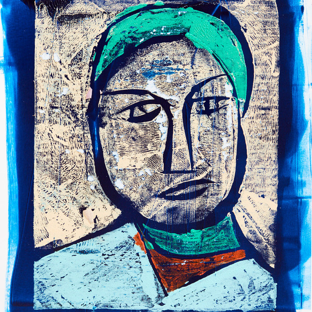 """""""Man with Hat"""" 2/3 Mono Print Framed"""