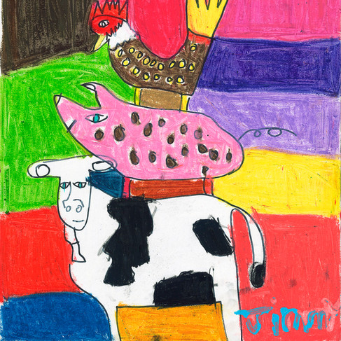 Cow, Pig and Rooster - SOLD Available in Print