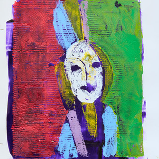 """""""Girl with Hat"""" 2/2 Mono Print Framed"""