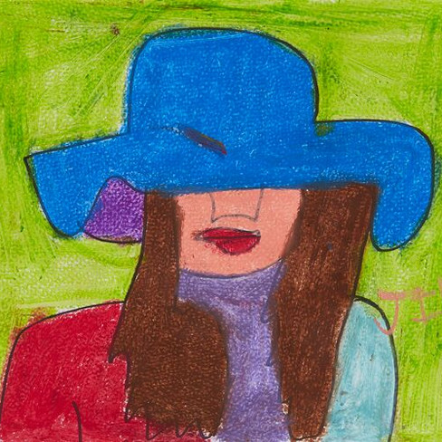 """""""Girl in Blue Hat"""" SOLD  Available in Print"""