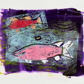 Bottle Lake Fish 1-3 Mono Print  Framed Available