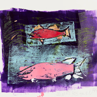 Bottle Lake Fish 2-3 Mono Print - SOLD Available in print