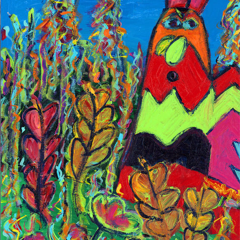 """Rooster in the Garden"""