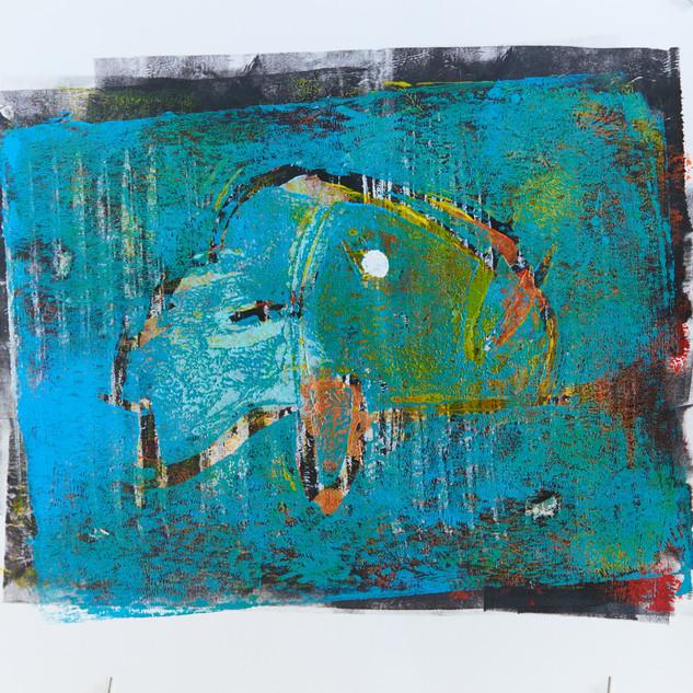 """Fish"" 2/3 Mono Print"