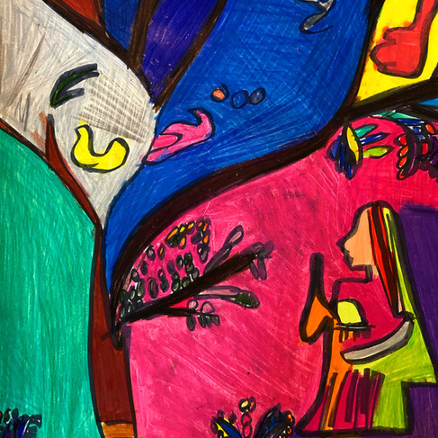 """""""Untitled Pen, Colored Pencil and Oil Pastel on Paper with Women"""""""