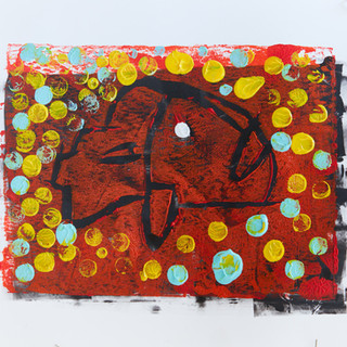 """""""Fish"""" 1/3 Mono Print SOLD Available in Print"""