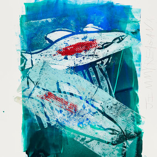 """""""Ice Fishing #3"""" Mono Print SOLD Available in Print"""