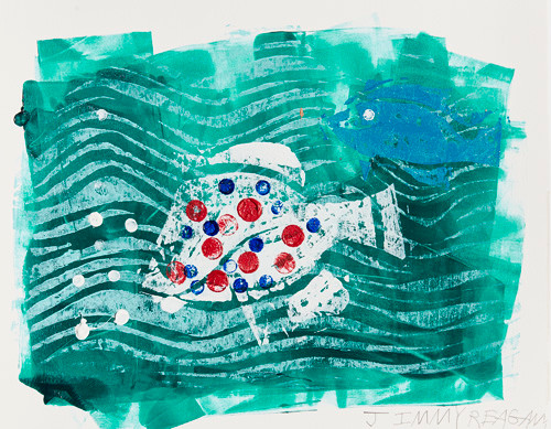 """""""Ice Fishing 1/1 #1"""" Mono Print Framed Available"""