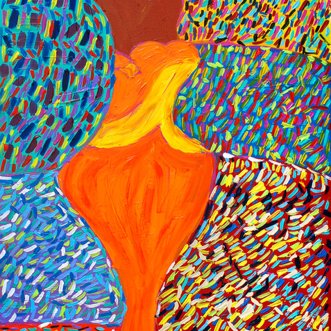 """""""Pretty Girl in Orange Dress and Pearls""""- SOLD Available in Print"""