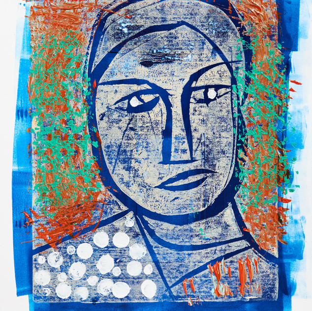 """""""Man with Hat"""" 3/3 Mono Print Framed"""
