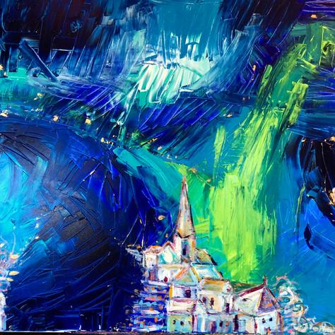 """Mountain Village at Night"""