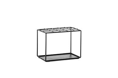 Metalen rekje voor 15 glazen buisjes met kurk