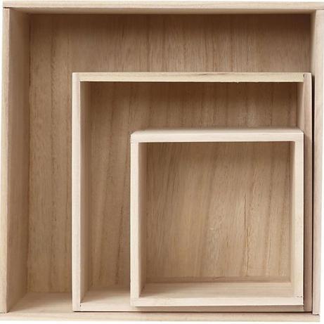 Houten presentatieboxen vierkant