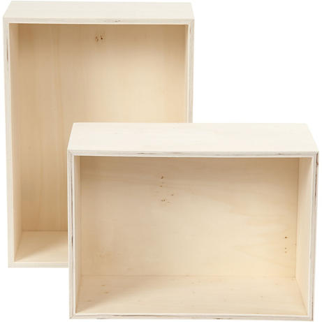 Houten presentatieboxen rechthoek