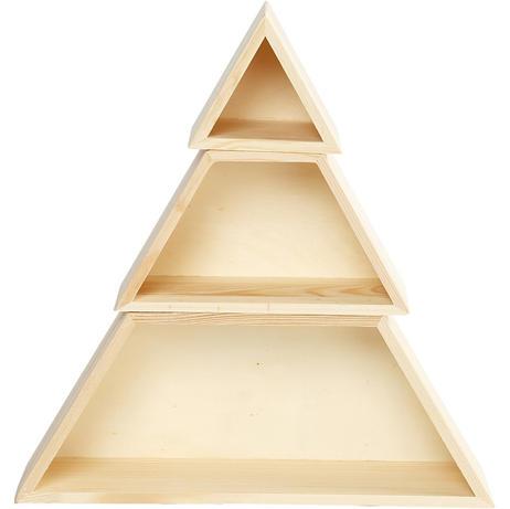 Houten presentatieboxen driehoek