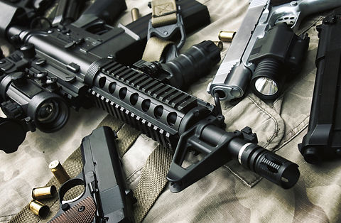 Weapons and military equipment for army,