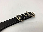 Black Leather stiched Dog Collar