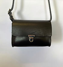 Black handmade leather handbag