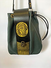 Scottish green and black leather bag