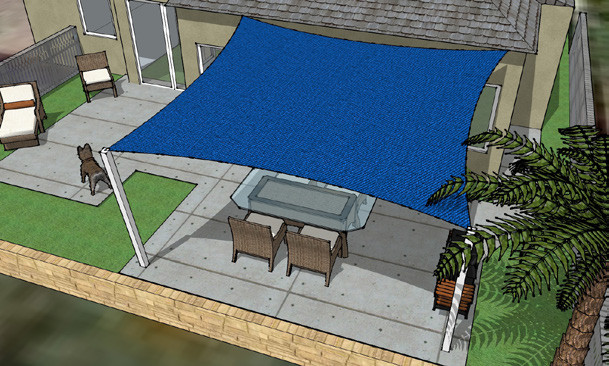 3D rendering of a shade sail for a back patio.