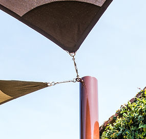 Two corners at single attachment point, shade sails