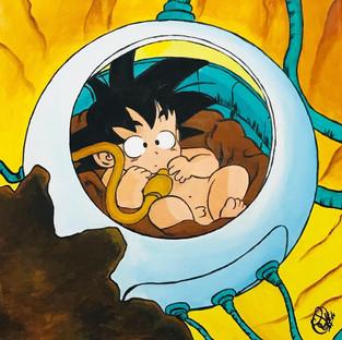 Cuadro Son Goku Nave - Bola de Drac - Drangon Ball - Acrílico - Sandra Robledo Ilusion Art