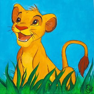 Cuadro Simba - El Rey León - Acrílico - Sandra Robledo Ilusion Art