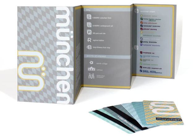 This project is a re-design of Munich's transportation identity and public transit maps for the S-Bahn and U-Bahn. The re-design for Munich's visual communication system is meant to enhance the clarity and ease of navigation, as well as to create a friendlier, more approachable international image.    Taking inspiration from Munich's culture, this identity system incorporates traditional Bavarian patterns and letter forms. The color palette, composition, and logo all serve to update the city's image and evoke a kind-spirited attitude.