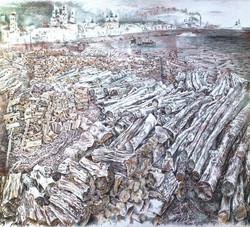 Wood Depot on Sukhona River