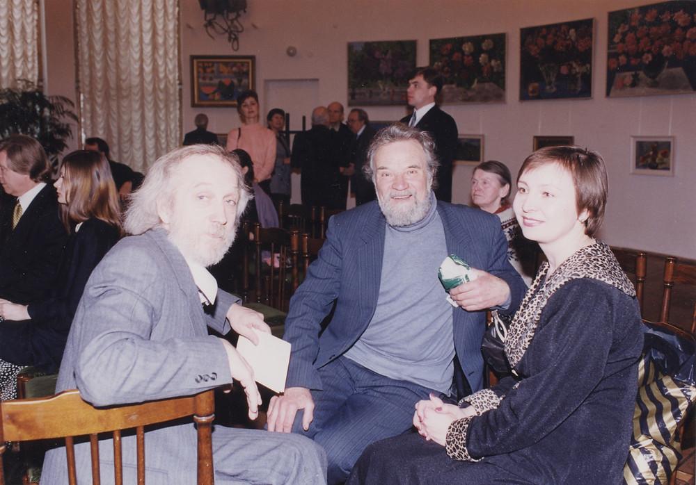 В. Попов, С. Никиреев, Н. Полякова на выставке в ЦДР дочери А.М. Герасимова.jpeg
