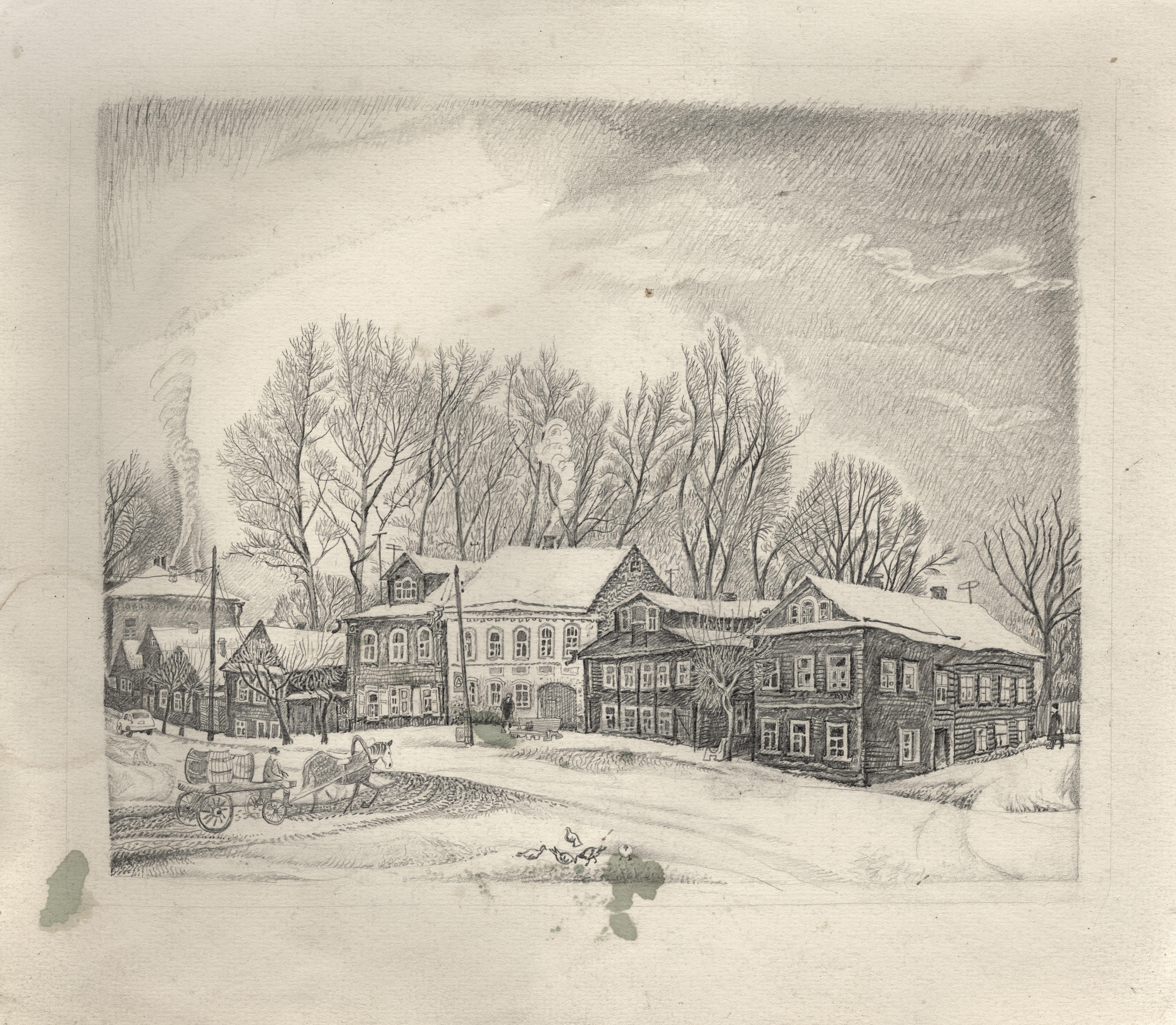 "Sketch of ""Street in Torzhok"""