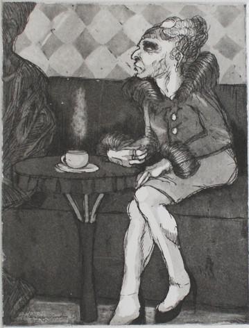 Bourgeoise au café