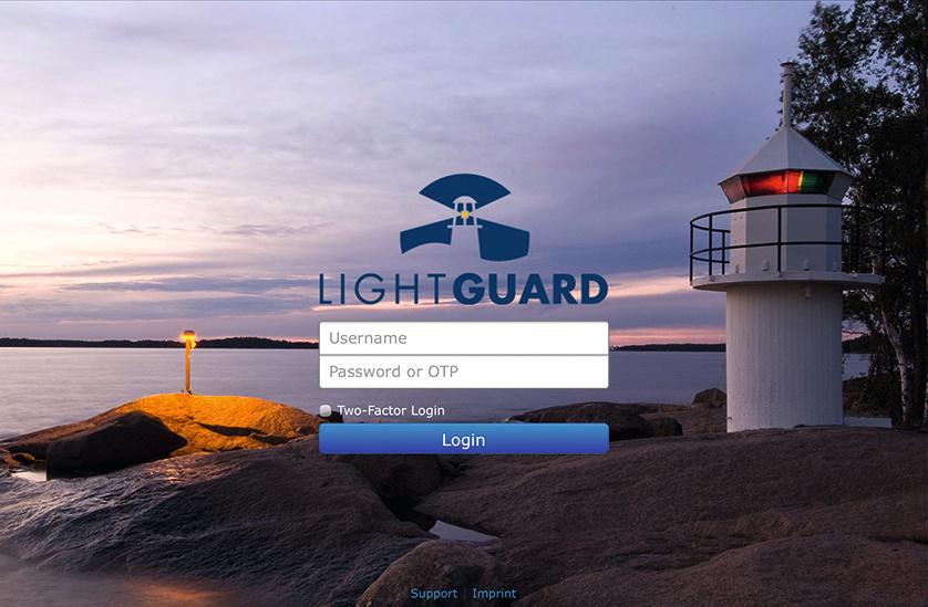LightGuard login page