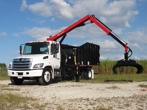 2020 Hino 338 20' Steel Refuse and Recycling Grapple Truck